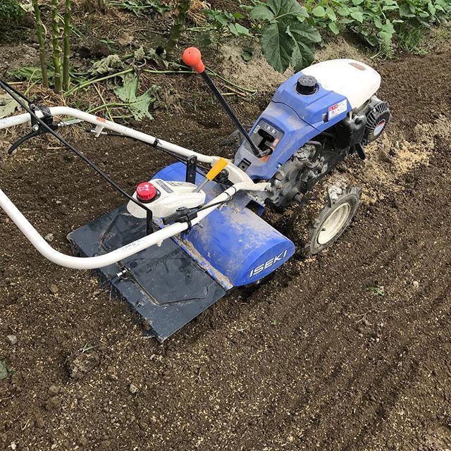 秋冬野菜の準備に向けた耕運機