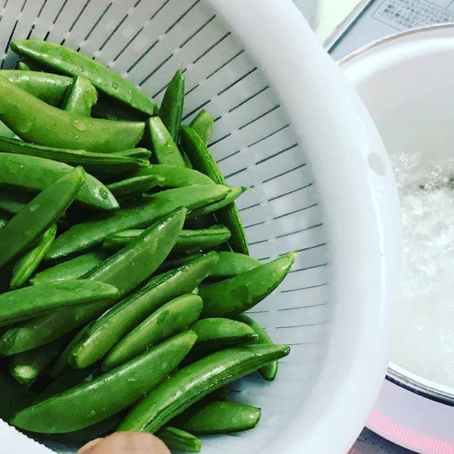 スナップエンドウ/サヤエンドウの茹で時間は2分!塩は小さじ1〜大さじ1/2くらい。少し多めでも大丈夫!